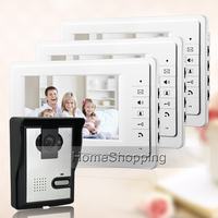 Cheap FREE SHIPPING NEW 7 Inch Color Apartment Video Intercom Door Phone System 3 White Monitors