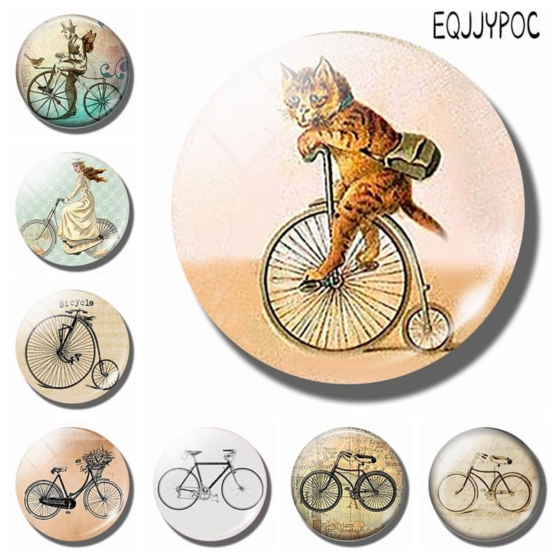 Милый Кот с магнитом на холодильник для велосипеда, стеклянный кабошон, винтажный мультяшный велосипед, магнитные наклейки на холодильник, украшение для дома