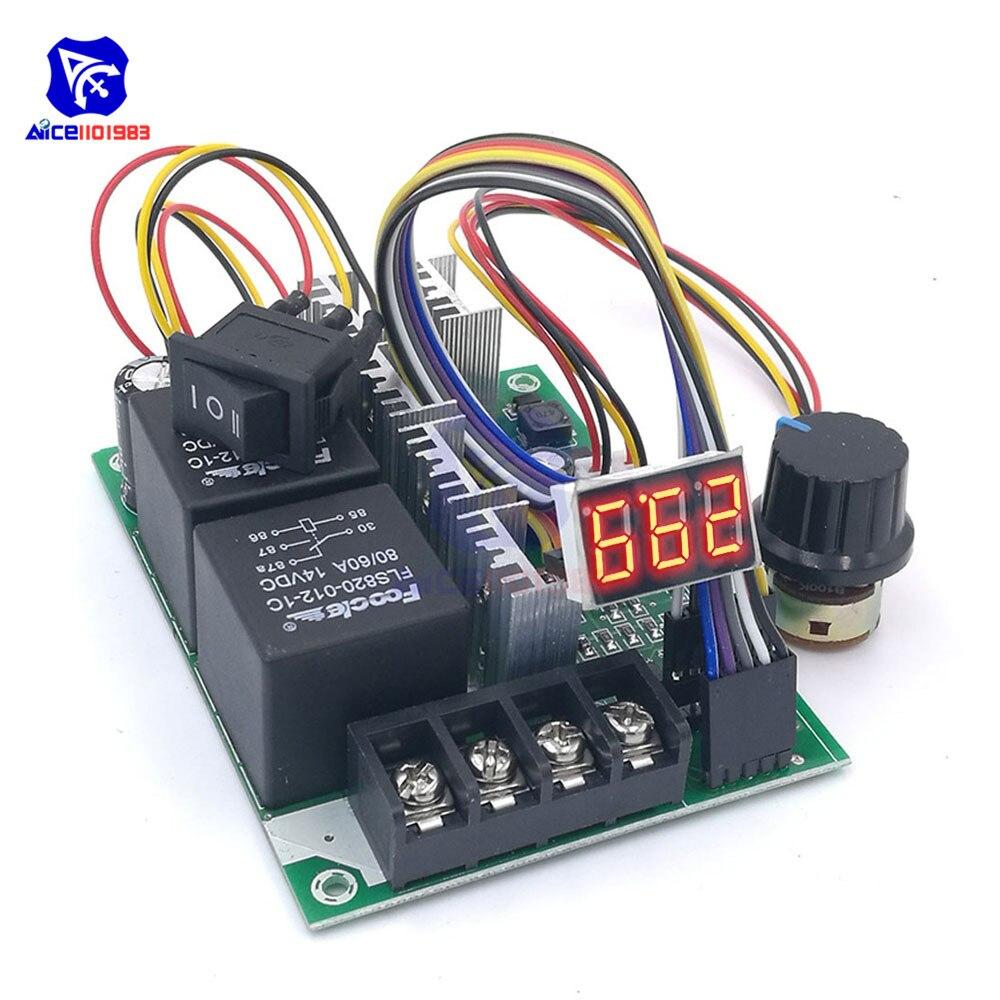 Dc 10-55 v 60a pwm dc controlador de velocidade do motor para a frente reverso ajustável potenciômetro interruptor de controle driver led display de dígitos