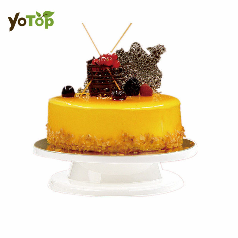 YOTOP 28cm White Cake Turntable Kitchen Decorating Icing Rotating Stand Plastic Fondant Baking Tool