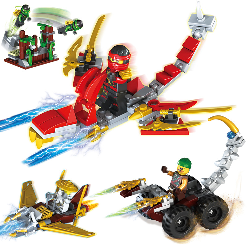 4 in 1 Compatible With Legoinglys Ninjagoed Series Kays lightning Master Wus Giant Bat Building Blocks figures Classic Toys