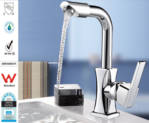 Image 5 - Xueqin 360 Rotation Spout Modern Kitchen Mixer Tap Brass Polished Single Handle Wash Basin Faucet For Bathroom Deck Mounted