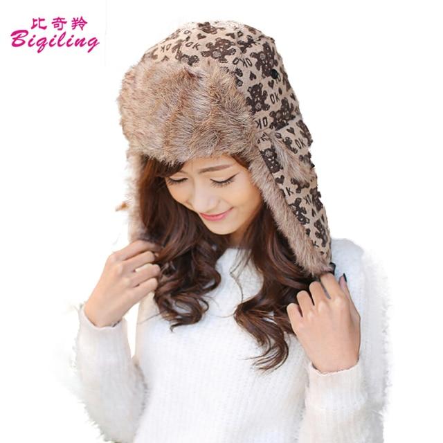 b2ee025b5 US $12.48 |Russian Trapper Ushanka Hats Winter Warm Women Earflap Caps  Printing Little Bear Letter Women Linen Knitting Bomber Hats-in Bomber Hats  ...