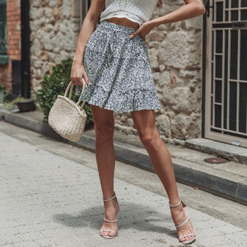 Womail Skirt Women Summer 2019 New Fashion Bohe High Waist Ruffled Floral Print Beach Short Skirt  NEW 2019 M27 1