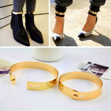 1Pcs Fashion Gold Flat Mirror Metal Anklet Ankle Foot Cuff Bracelet Bangle Hot Selling