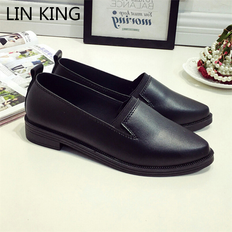 LIN KING Women Casual Shoes Square Heel Slip On Ankle Shoes Low Heel Solid Loafers Leisure Pointed Toe Lady Office Work Shoes sherlock holmes the devil s daughter игра для pc