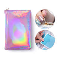 NICOLE DIARY 72 Slots Holographic Stamping Plate Case Laser Silver Pink Rectangle Round Nail Art Plate Organizer Holder Bag