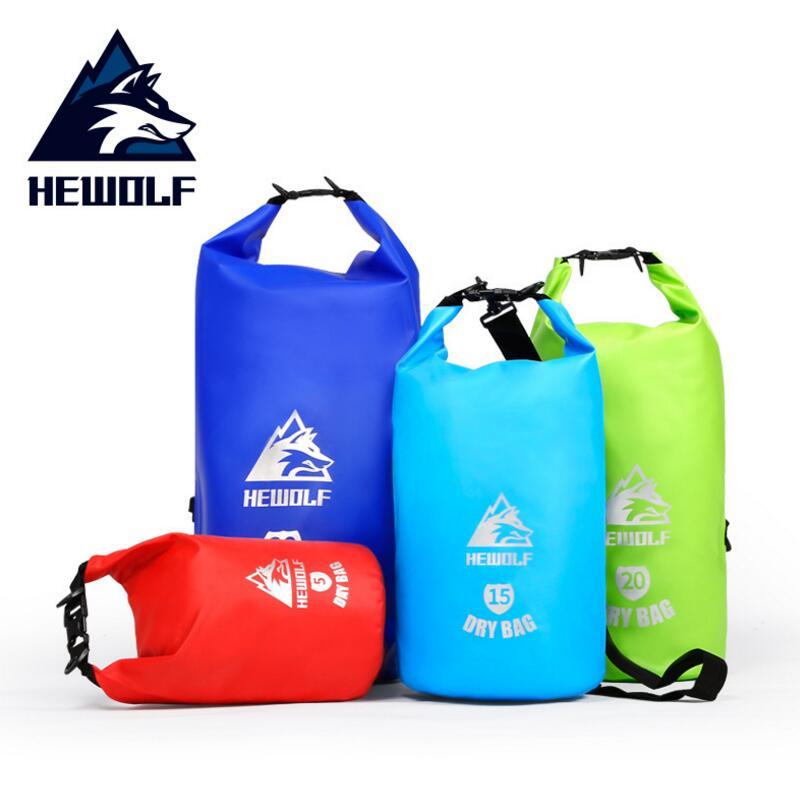 Hewolf 5L 15L 20L 30L Waterproof Outdoor Bags Storage Dry Bag Ultralight Swimming Bag Dry Beach Drifting Backpack Rafting Bags