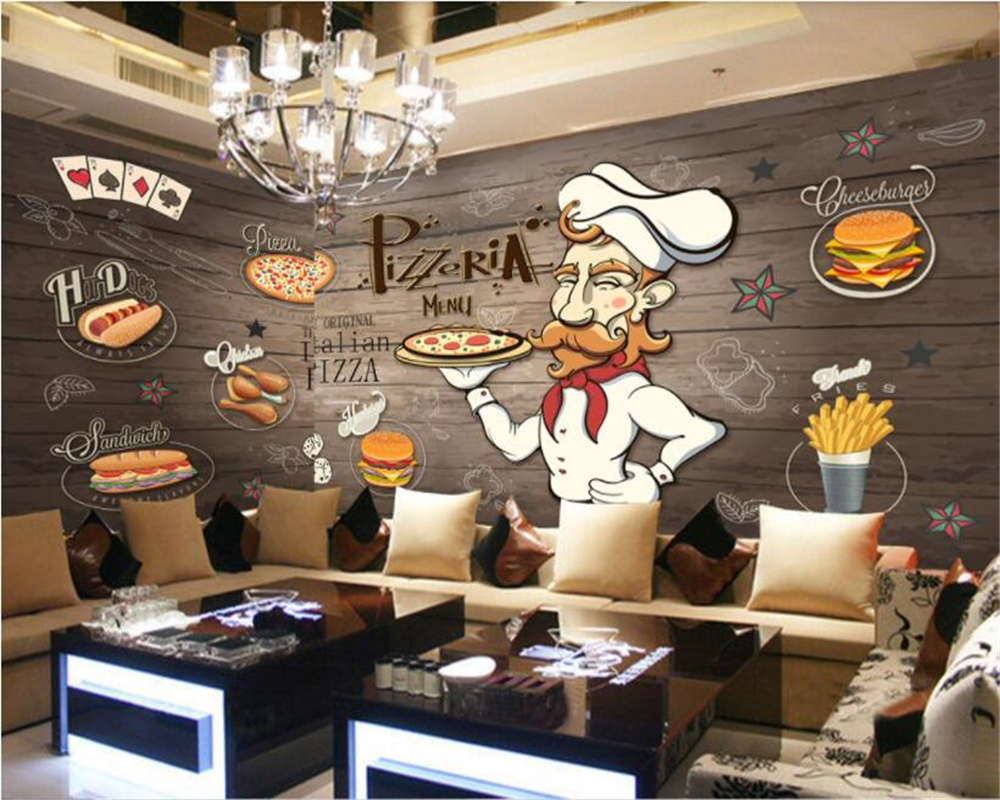 beibehang tapety papel de parede 3D wallpaper for walls 3d Hand-painted wooden Pizza Restaurant papier peint hudas beauty