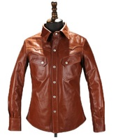 Free shipping.DHL Brand new brown cow leather shirt,man's 100% genuine leather Jackets,fashion men's slim japan style jacket