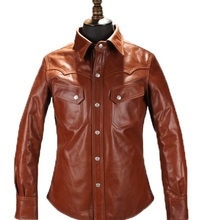 VANLED shipping.DHL brown cow leather shirt 100% genuine leather Jackets men's slim