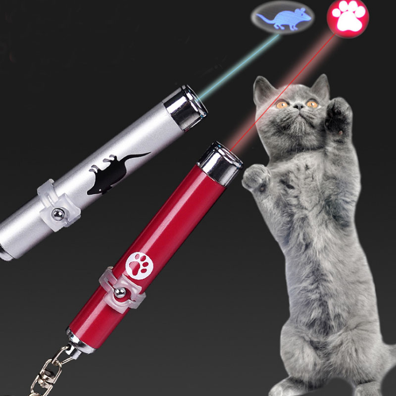 Portable Amazingly Cat Toy Creative and Funny Pet Cat Toys LED Pointer light Pen with Various Animation Shadow