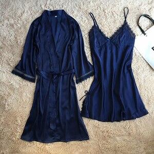 Image 4 - Fiklyc marca das mulheres novo design satin & lace patchwork floral primavera robe & vestido define sono & lounge feminino duas peças de roupa de dormir