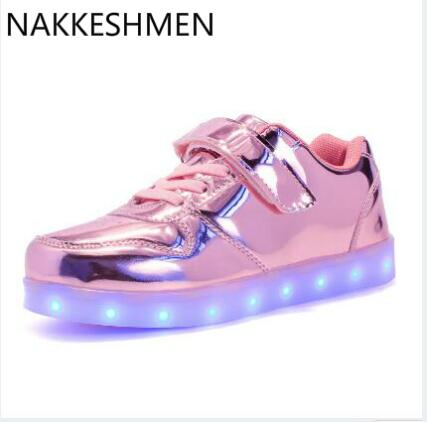 Spring Fashion Children Seven Color Luminescent Skateboard Shoes Boys Girls Sport Led Usb Luminous Lighted Shoe for Kids Glowing joyyou brand boys girls glowing usb children luminous sneakers with light up led school footwear illuminated teenage kids shoes