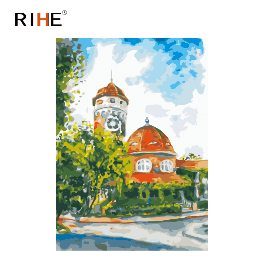 RIHE Street Corner House Diy Painting By Numbers Sky Oil On Canvas Hand Painted Cuadros Decoracion Acrylic Paint Art