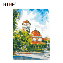 RIHE Street Corner House Diy Painting By Numbers Sky Oil On Canvas Hand Painted Cuadros Decoracion Acrylic Paint Art
