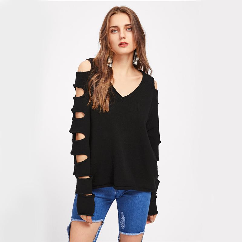 HTB19gNQSFXXXXXUXVXXq6xXFXXXa - Cut Out Sleeve Sweater Black Sexy Slim Pullover PTC 207