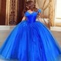 Moda romantic azul royal Quinceanera vestido 2016 nova mangas bola vestido de debutante vestido para festa vestido de 15 años