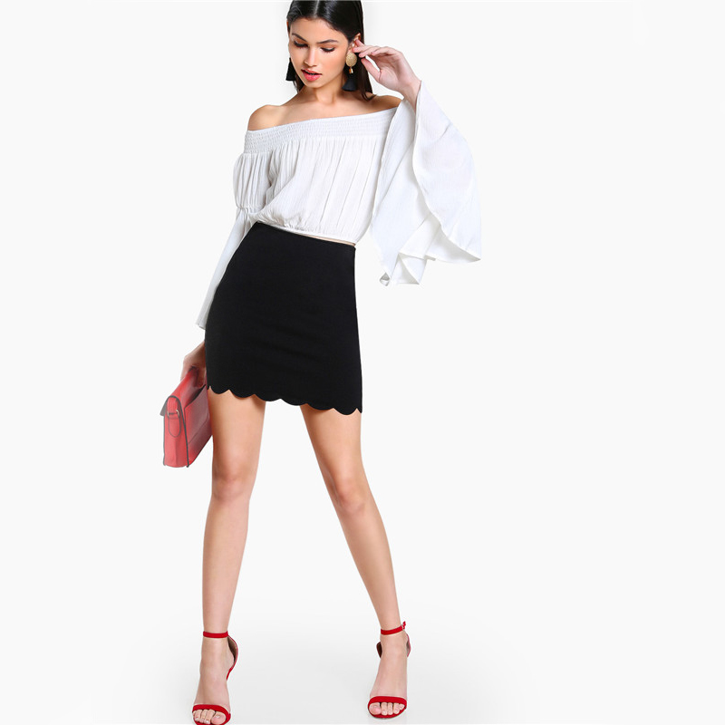COLROVIE Black Sexy Mini Fitting Skirt Scallop Edge Form Women Elegant OL Summer Pencil Skirts 2017 Back Zip Up Brief Club Skirt 8