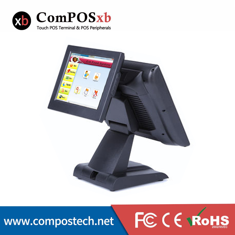 Pos System Supermarket 15 Inch Dual Screen Display Touch Computer Double Screen All In One Pos System Restaurant Cash Register 15 inch tft lcd touch screen monitor core i3 touch screen pos all in one restaurant epos system with msr customer display