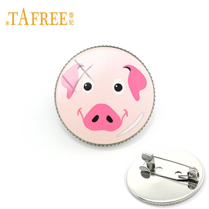 TAFREE Cute Pink Pig Brooches Happy Pig Animal Glass Dome Metal Pins For Boys Grils Dress Jacket Bag Hat Pins Gift PG01