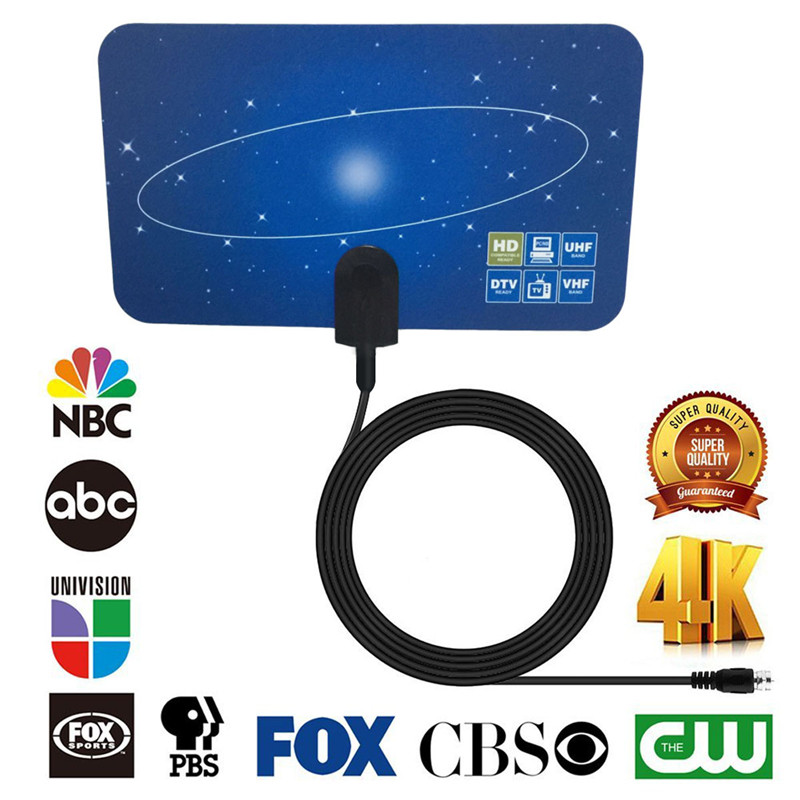 SOONHUA Newest 4K HD Digital Indoor TV Antenna Flat Design 40-50 miles High Gain HD TV DTV Box STB Television Satellite Receiver