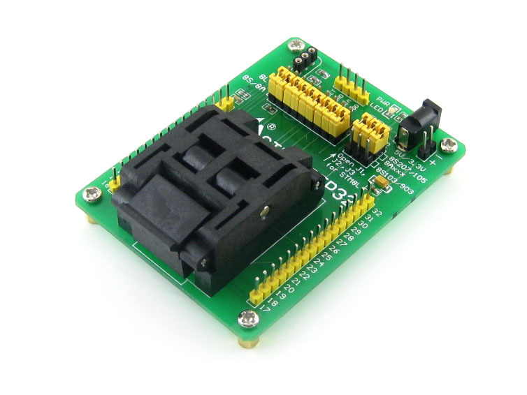 Yamaichi IC Test & Burn-in Socket With A Simple Board, Especially For STM8 Microcontroller In QFP32(0.8mm Pitch) Package