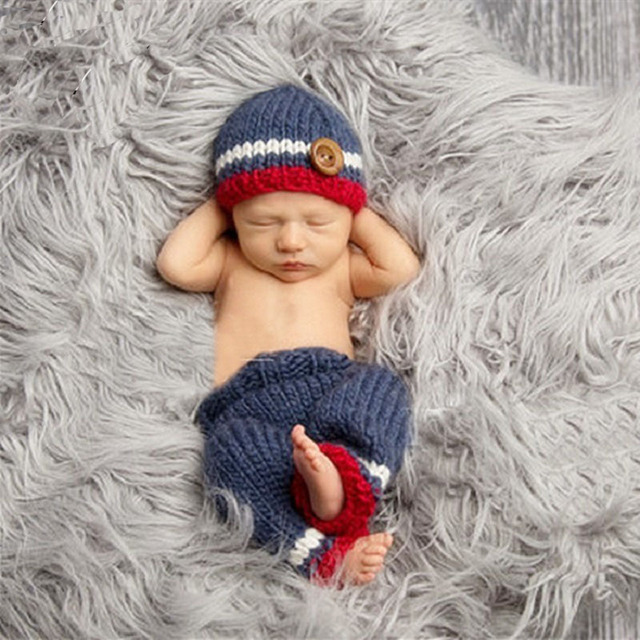Newborn Baby Boy Photography Crochet Hats Outfits Props Infant