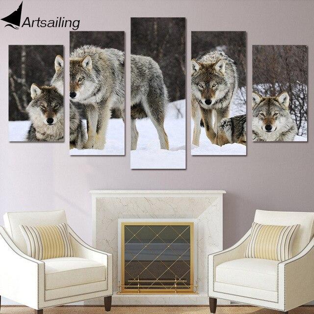 HD Printed 5 Piece Canvas Art Wolf Snow Wild Animal Painting Livingroom  Decoration Wall Art Free