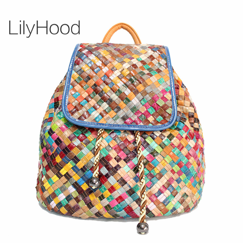 LilyHood Sheepskin Drawstring Backpack Casual Leisure Female Real Leather Bohemian Hippie Boho Chic Colorful Patchwork Book Bag цена