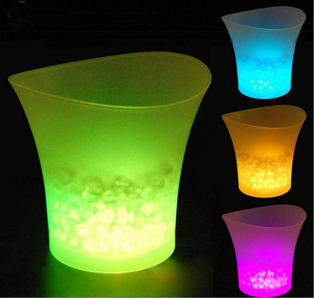 Portable waterproof plastic ice buckets with led lights color portable waterproof plastic ice buckets with led lights color changing bars night clubs homes champagne wine aloadofball Image collections