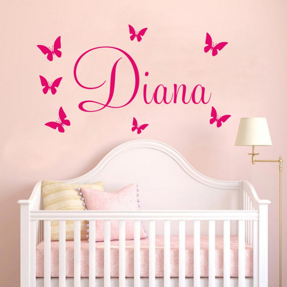 Customer made personalised name among the butterflies wall for Childrens butterfly bedroom ideas