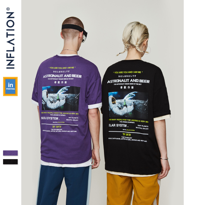 INFLATION 2019 SS Collection New Arrivals Graphic Tees Loose T-shirt Men Summer Black T-shirts Printing Couple Tshirt 9148S