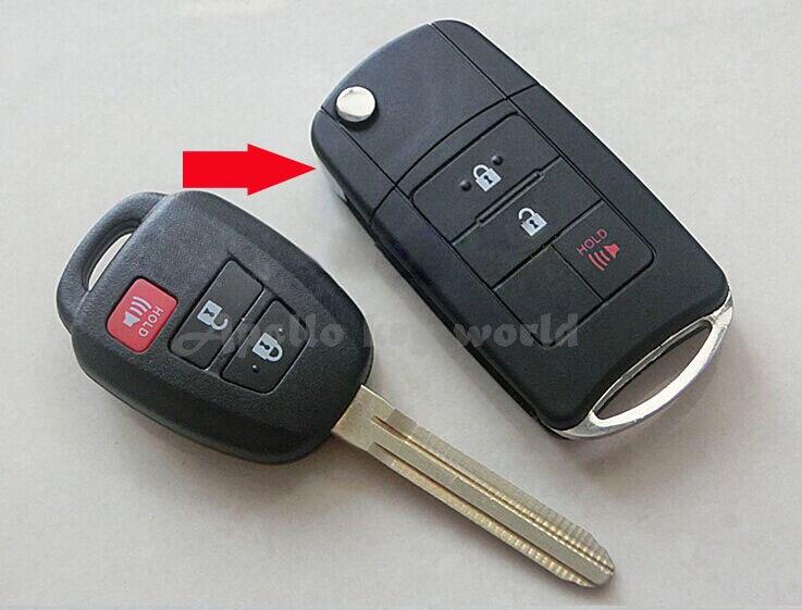 2 + 1 Boutons de Modification Pliant Flip À Distance Shell Key Case Pour Toyota Corolla Camry Reiz Nouveau Vios Couronne RAV4 Clé Fob couverture