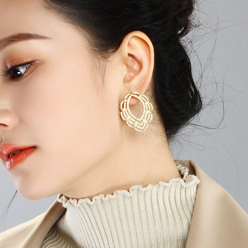 Hermoso gran pendiente de cristal blanco piedras de moda joyería de las mujeres grandes pendientes de lágrima para las mujeres