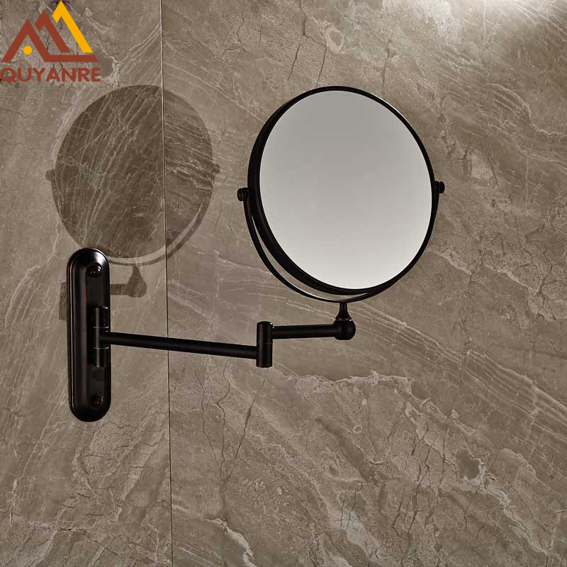 Bathroom Wall Mounted Extended Folding Arm Make up Mirror Magnifying Bathroom Mirror Chrome Dual chrome framed wall mounted bathroom make
