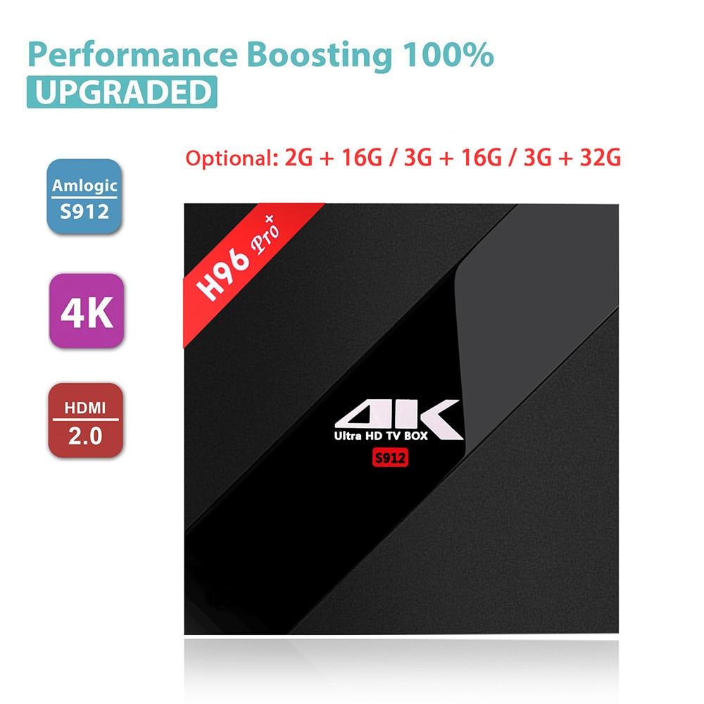 H96 Pro+ Smart TV Box Amlogic S912 Octa Mali-T820MP3 GPU 2G/16G 3G/32G Android 7.1 2.4G/5.8GHz Wifi Bluetooth Set Top Box q plus qplus android 6 0 tv box amlogic s912 octa core mali t820mp3 gpu 2g 3g 16g 32g wifi batter than x96 h96 prp mx