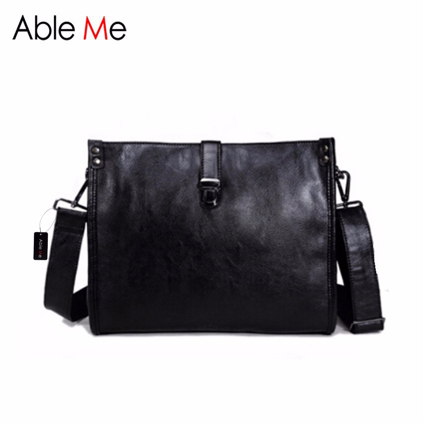 ФОТО AbleMe Classic PU Leather Men Handbag Business Style Design Lock Messenger Bag High Quality Male Crossbody Bags