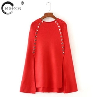 ORDEESON Winter Ugly Christmas Sweater Knitted Red Sweater Women Sweaters And Pullovers Poncho Cloak Loose Oversized