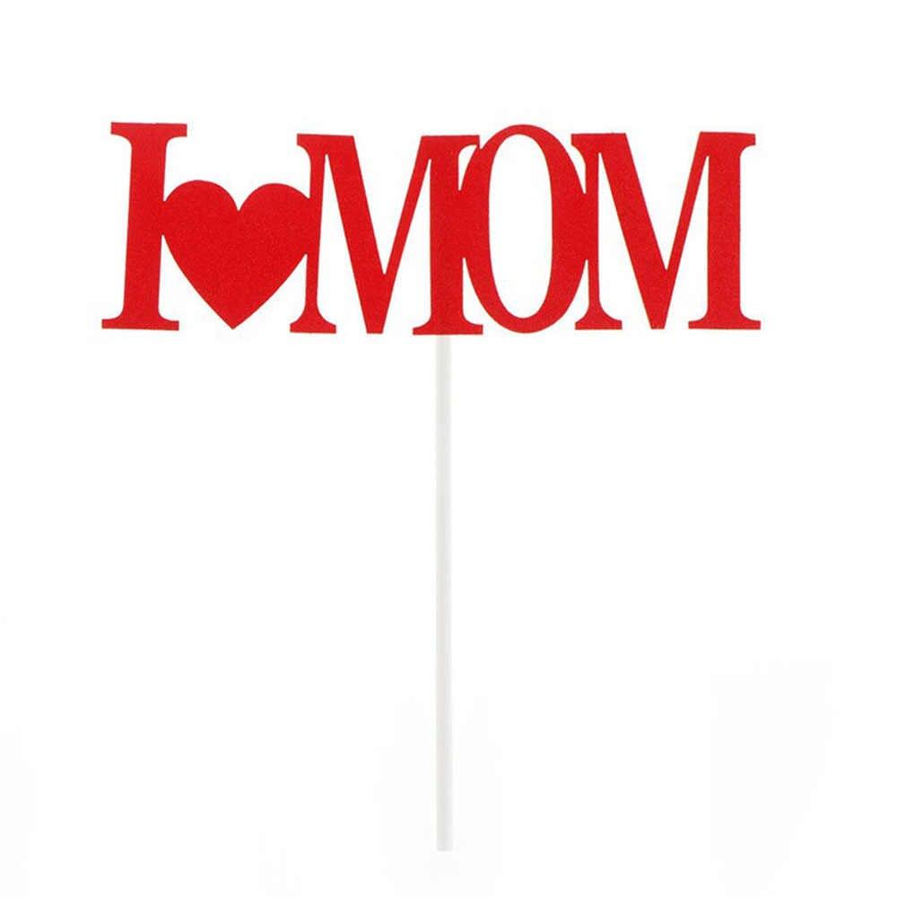 Me encanta mamá Cupcake torta pastel de banderas de la Madre Día de Padres de la fiesta de cumpleaños