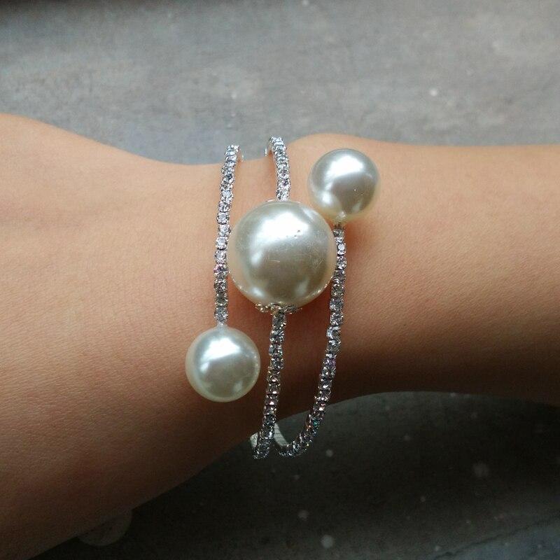 New Fashion Elegant Rhinestone Silver Plated Round Simulated Pearl Stretch Bangle Bracelet For Women