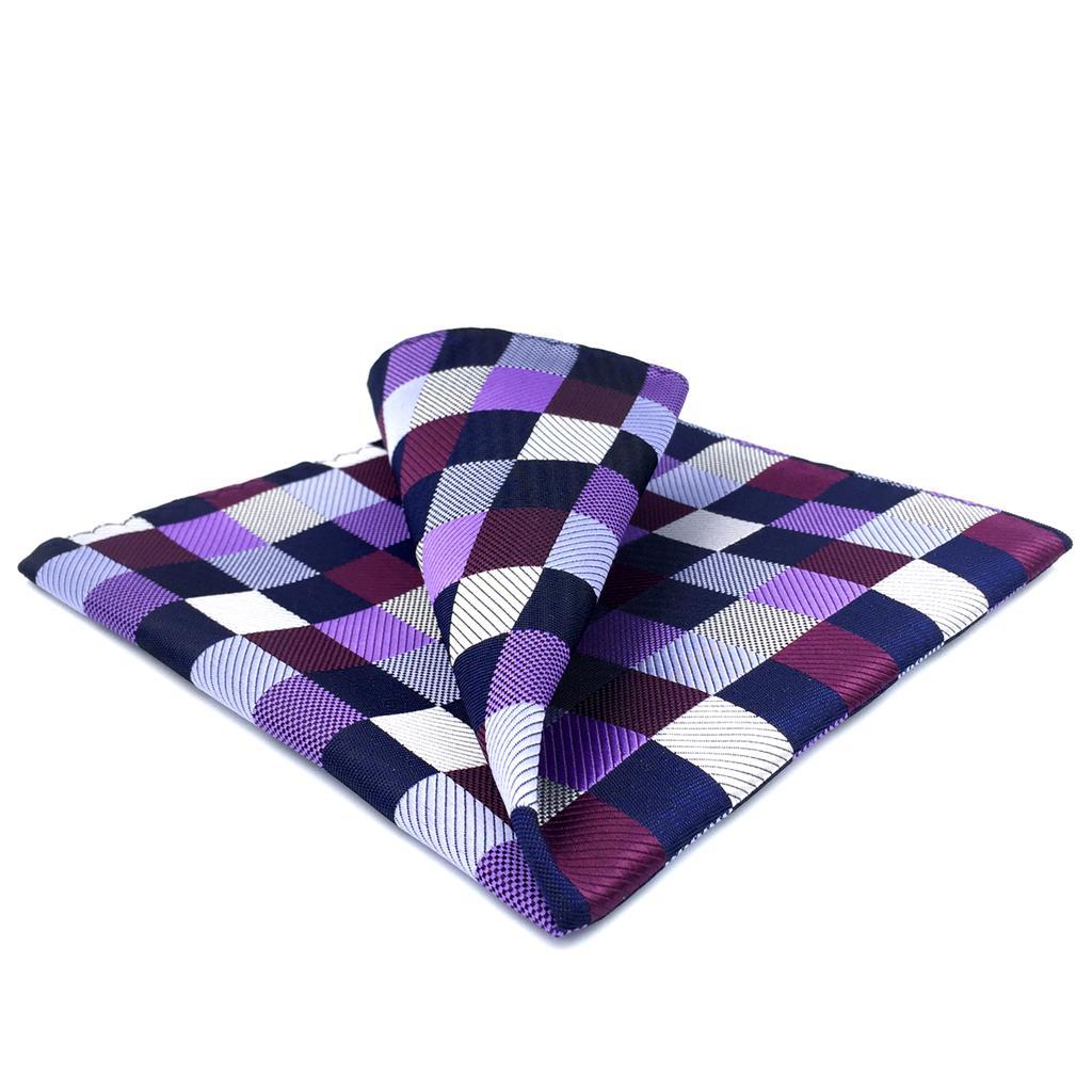 BH2 Checkes Mens Pocket Square Purple Multicolor Silk Classic Handkerchief