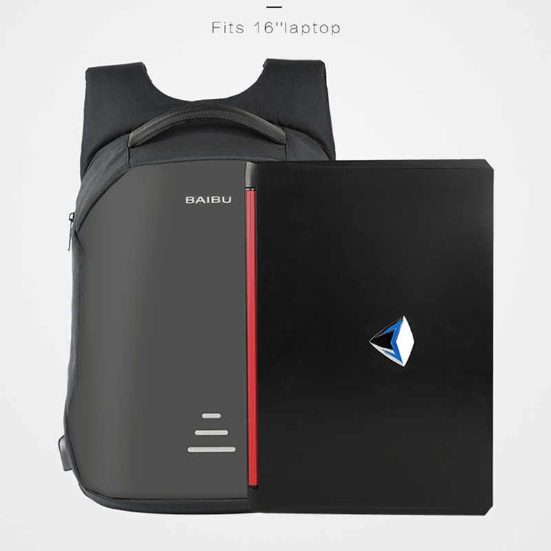 BAIBU חדש תרמילי גברים USB תשלום מחשב נייד נגד גניבת תרמיל אופנה עיצוב תרמיל מזדמן המוצ 'ילה מזדמן נסיעות תיק זכר