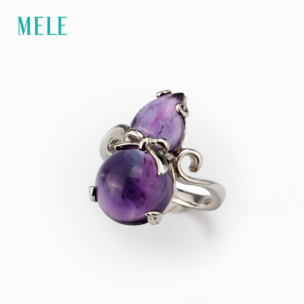MELE Natural amethyst silver ring, 22mm*12mm, South Africa amethyst , deep color with inclusion inside, fine jewlery for women itinerant specialist support for preschool inclusion