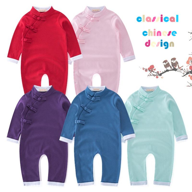 Autumn Classical Style Baby White Crane Rompers Lovely Infant Clothes Fashion Children's Outwear Chinese Design Jumpers 18M06