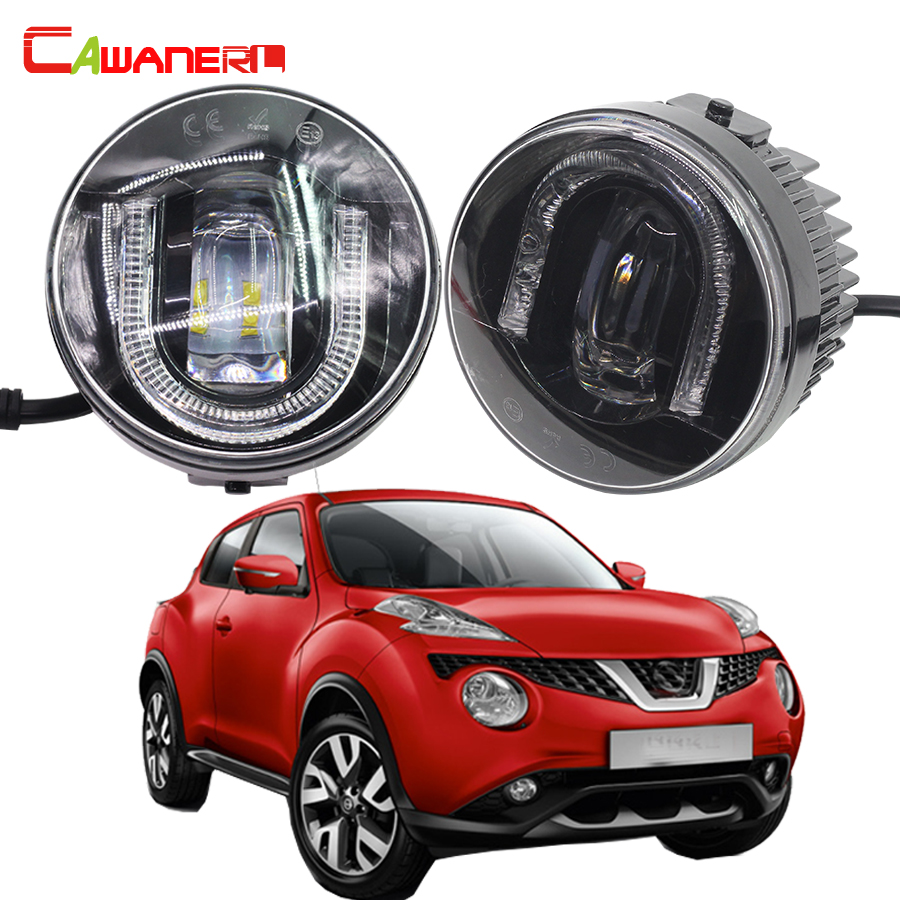 Cawanerl For Nissan Juke 2010- Car Accessories LED Fog Light DRL Daytime Running Lamp High Lumens 1 Pair for nissan patrol y62 armada accessories original design fog lamp with chrome fog light cover