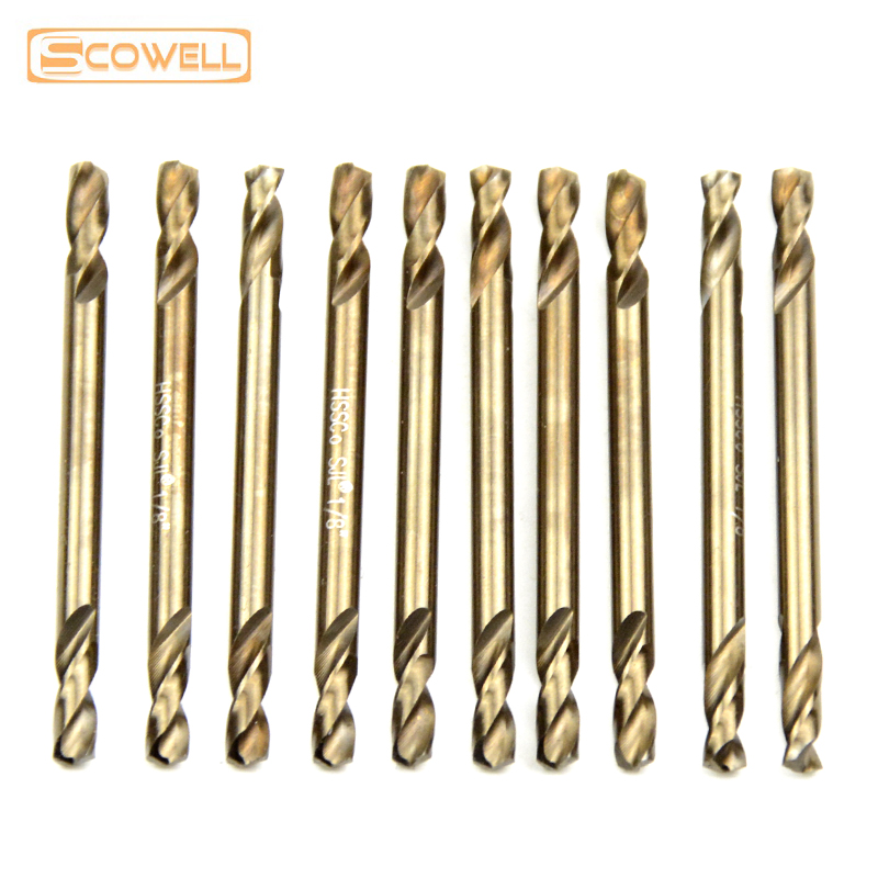 40% OFF SCOWELL 10pack HSS M35 Double End Twist Drill Bit Cobalt Hole Drilling Spiral Drill Bits MetalWorking From 3mm To 5mm