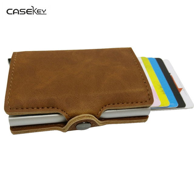 timeless design 19f8a 740ad US $22.87 36% OFF|CaseKey Aluminum Wallet rfid Blocking Credit Card Holder  Clip Mini Best Safe Wallet Fashion Style Designer Pattern High Quality-in  ...