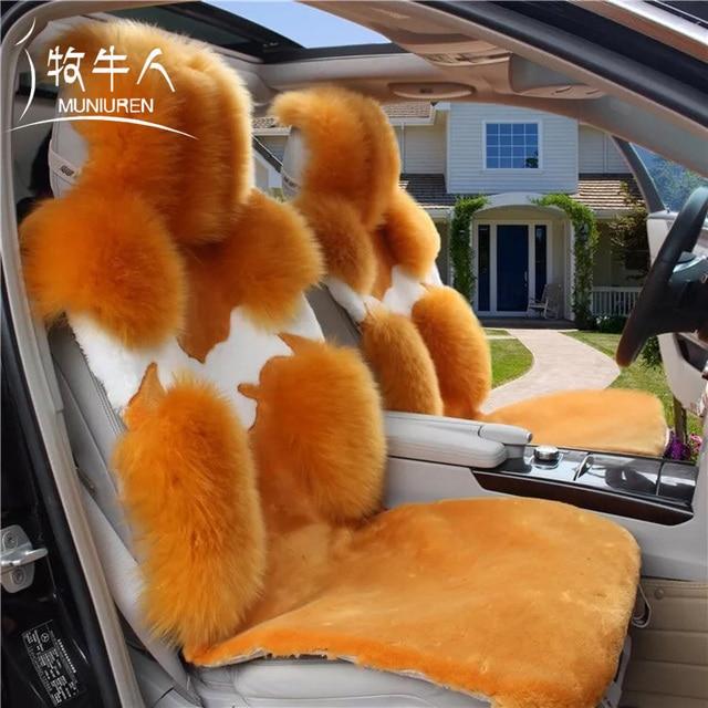 Muniuren 1pcs Australia Wool Car Seat Covers Front Seat Cushion