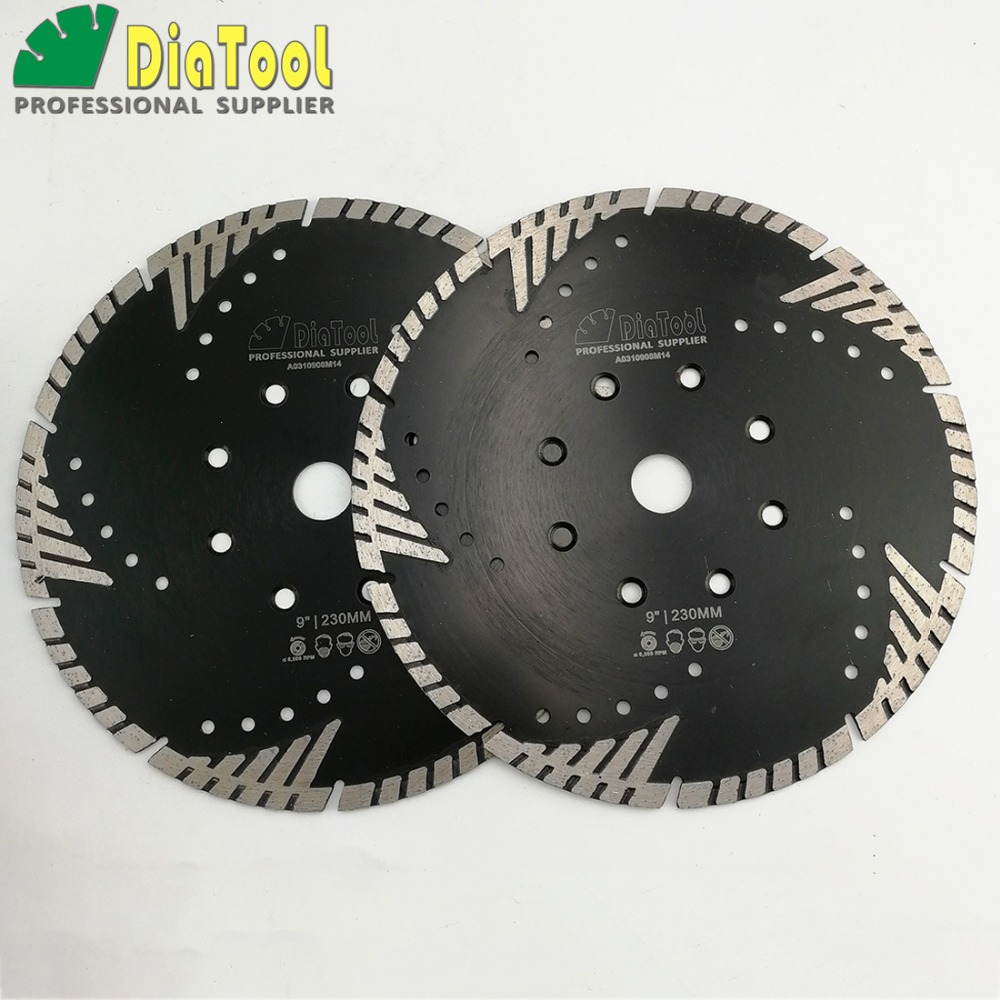 DIATOOL 2pcs 9/230mm Diamond Blades Cutting Disc Hot Pressed Turbo Blade With Slant Protection Teeth Stone Concrete Wheel Disc diatool 2pcs 4 5 115mm hot pressed continue rim cutting diamond blade ceramic tile sawblade thin cutting disc diamond wheel